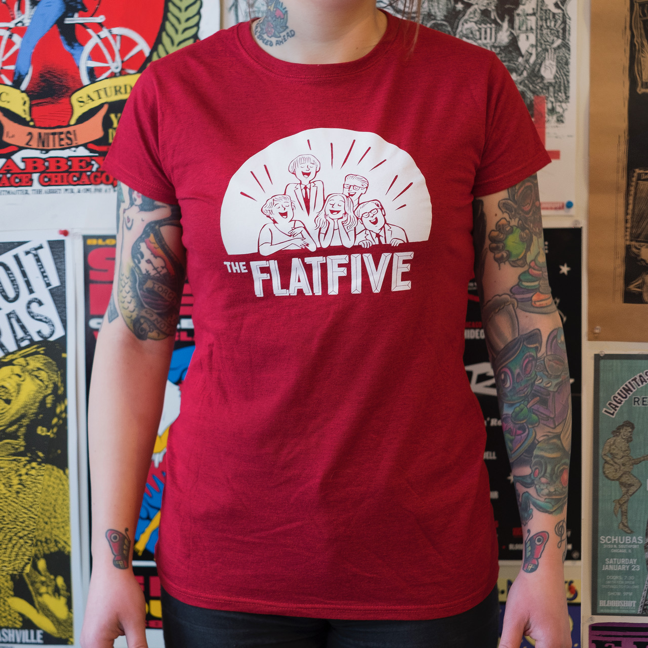 Flat Five Red Ladies t-shirt