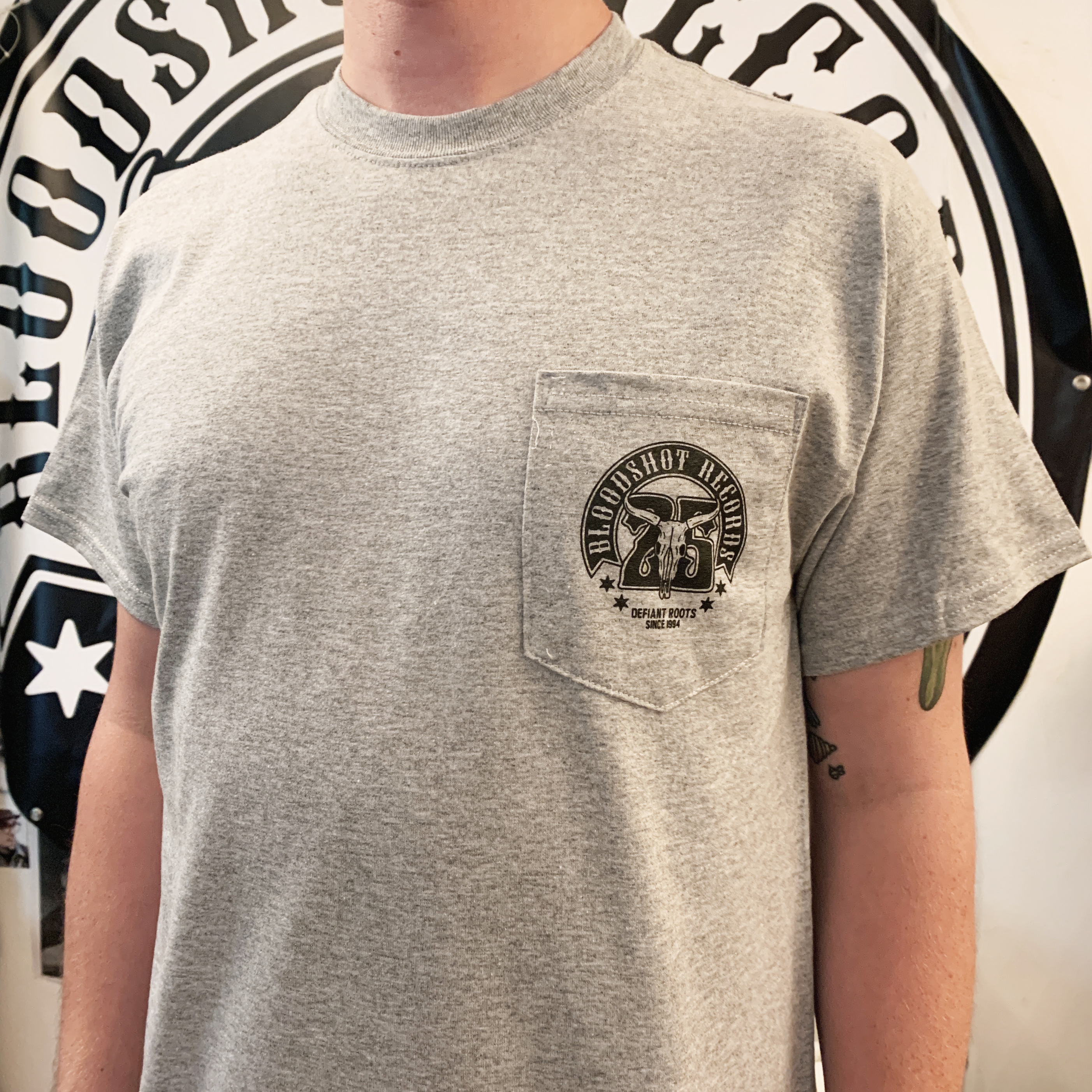 Bloodshot Records 25th anniversary pocket t-shirt