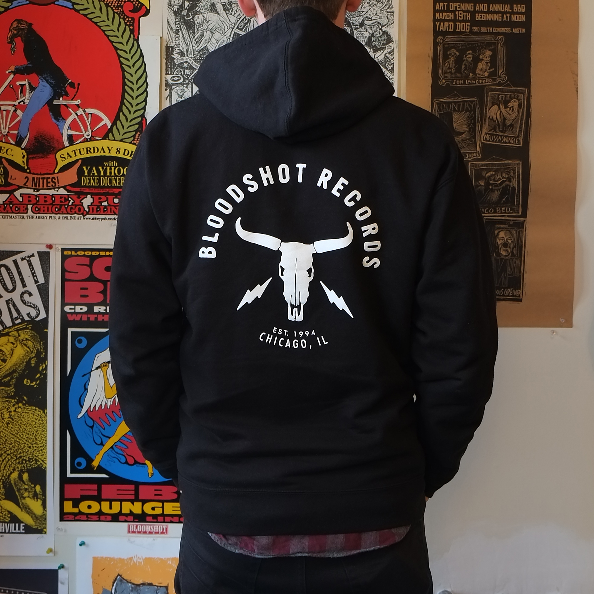 Bloodshot Skull and Bolts Zip Hoodie