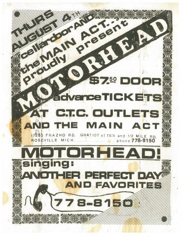 Motorhead Main Act Detroit Roseville 1982
