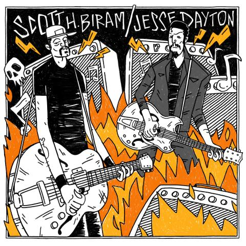 "Scott H Biram Jesse Dayton Monkey David Wine Single Again 7"" Single Artwork"