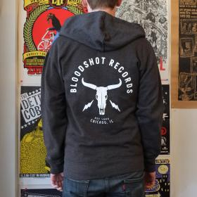 Bloodshot Skull & Bolts Charcoal Zip Hoodie