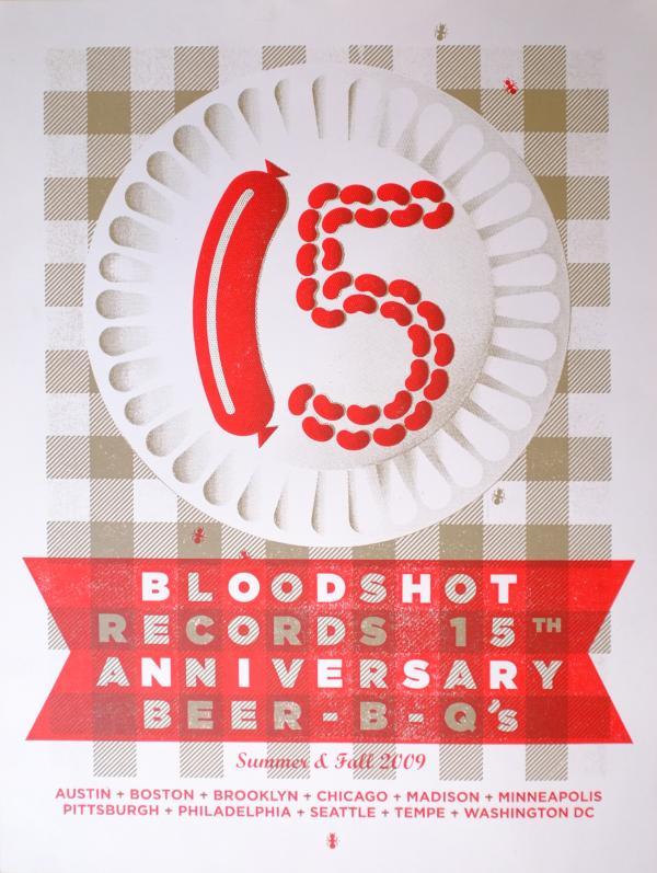 bloodshot records 15th anniversary beer-b-q bbq silk screened poster