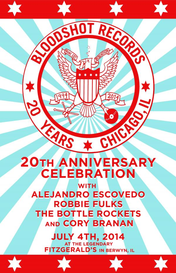 Bloodshot 20th Anniversary American Music Fest FitzGeralds Berwyn Chicago Poster Screen Print